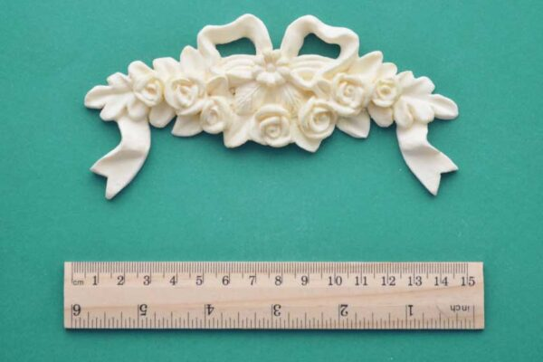 Large Rose Cluster & Bow Resin Moulding