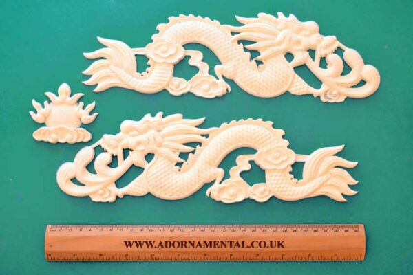 Pair of Chinese Dragons and Sun