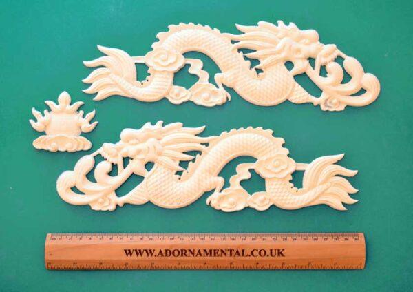 Pair of Chinese Dragons & Sun